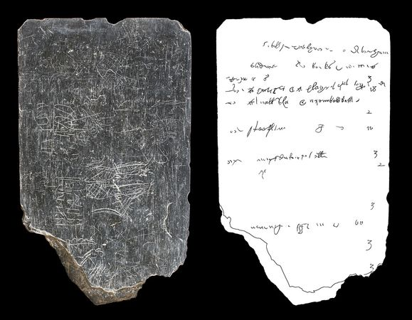 A conservator digitally isolated inscriptions (right) on the 17th-century Jamestown tablet (left).  Photograph:  Preservation Virginia