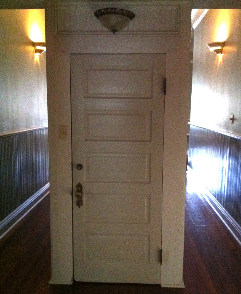 "Closet door under the stairs ""where the little ghost girl lives."" Louisiana (AE, NGS)"
