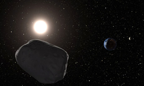 A computer generated image of a near Earth asteroid